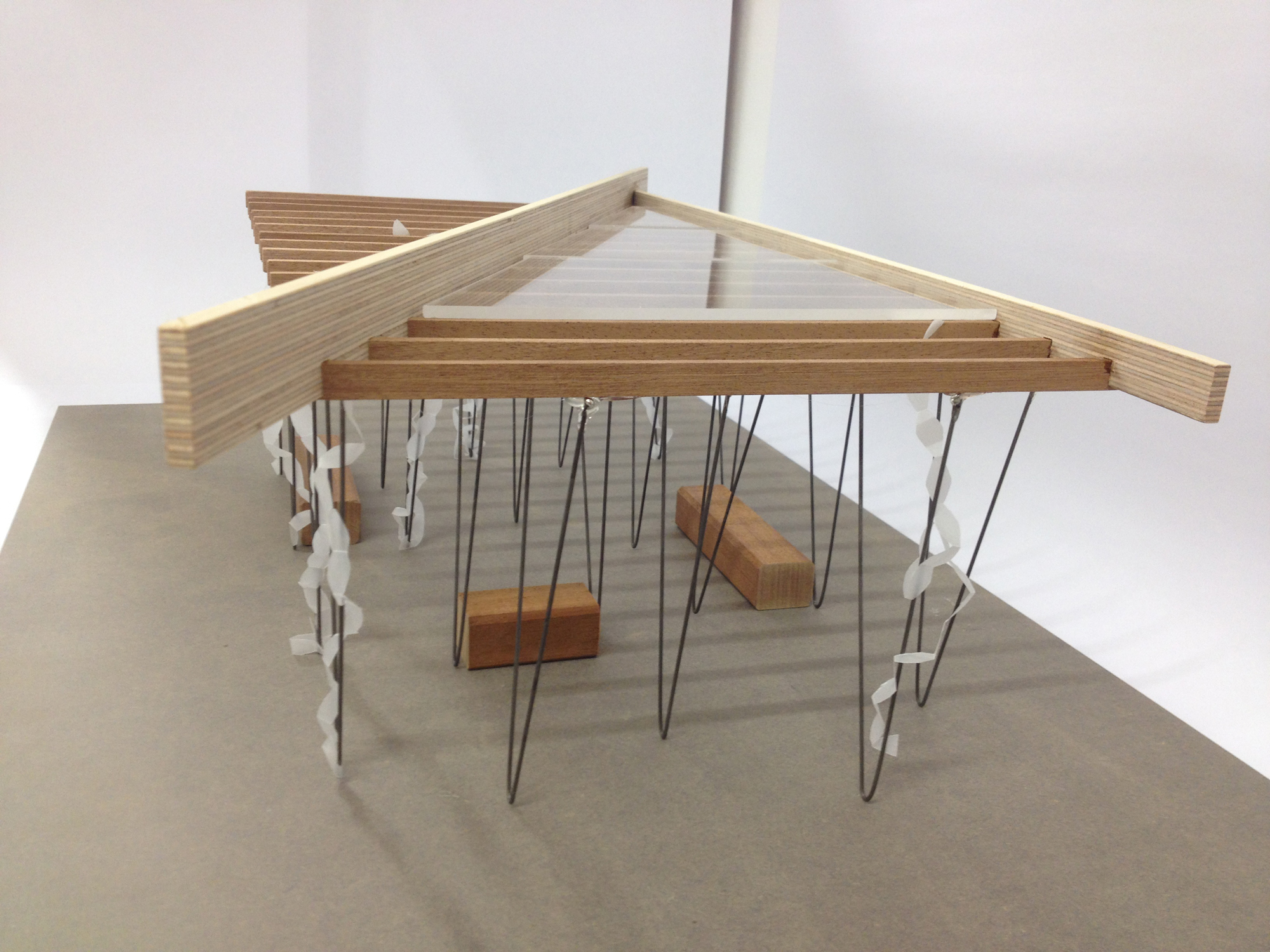 1:20 model of pavilion – view looking down onto roof